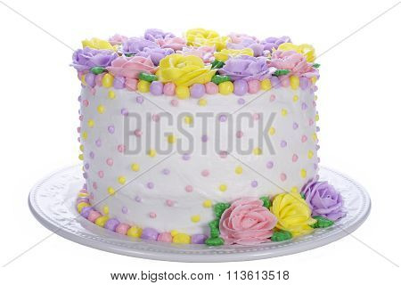 pastel rose and dot vanilla buttercream cake