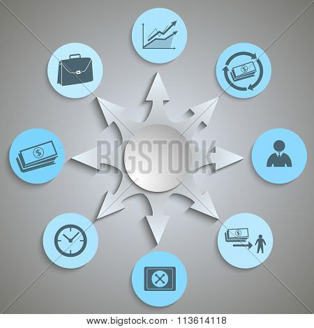 Icons Banking Concept Presentation Template Gray Background