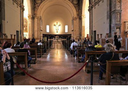 RIMINI ITALY - NOVEMBER 03 2013: Interior of the Church Tempio Malatestiana (Malatesta Temple). Built in 1450 and is the central temple of the Italian city of Rimini