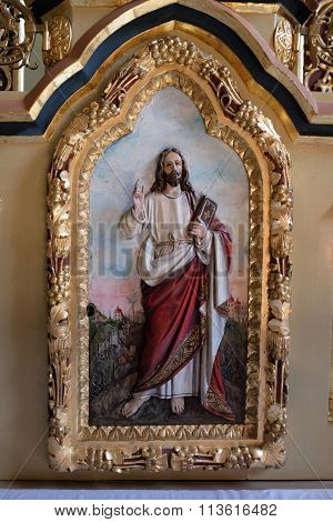 STITAR, CROATIA - NOVEMBER 24: Jesus relief on the door of tabernacle on the main altar in the church of Saint Matthew in Stitar, Croatia on November 24, 2015
