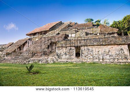 Pyramid in ancient Maya city Ek Balam, Yucatan, Mexico.