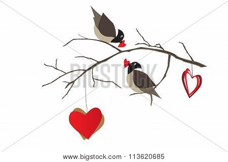 Birds on a tree branch and hearts