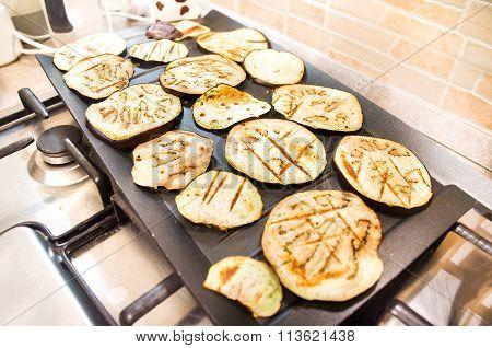 Grilled Eggplants Large Black Plate