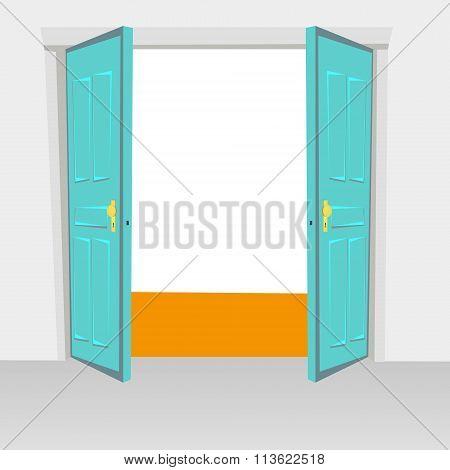 Opened Interior Doors Hinged Bivalve, Swings Door. Colored With Golden Handle