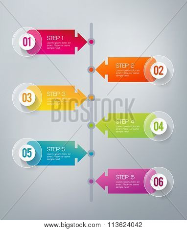 Six steps infographics - can illustrate a strategy, workflow or a timeline