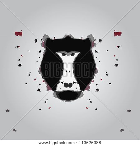 Black Aggressive Head Of Baboon, Monkey In Style Of Rorschach Test