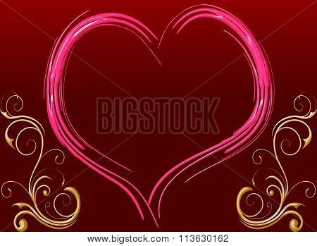 Pink Heart Frame With Message Space In Valentine Day
