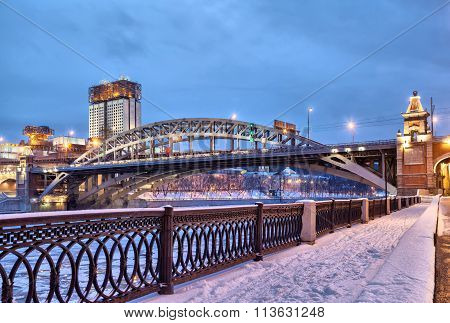 Embankment Of Moscow River Near Andreevsky Bridge