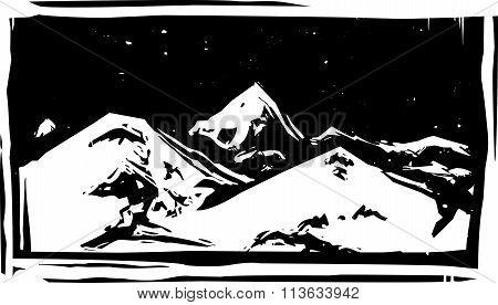Woodcut Mountain Range
