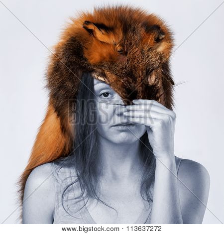 Girl With Fur On The Head