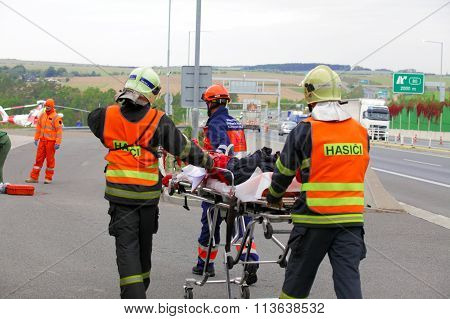 CZECH REPUBLIC, PLZEN, 30 SEPTEMBER,2015:Czech rescue team, helicopter evacuate injured after a car