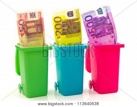 Colorful Recycle Bins With Euro Money Inside