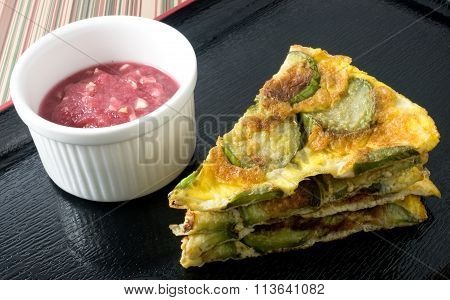 Thai Cuisine and Food Green Eggplant Omelet Served with Spicy Shrimp Paste Dip on A Black Tray. poster