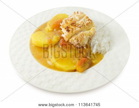 Japanese Curry And Tonkatsu With Steamed Rice