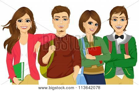 Casual group of students looking happy and smiling