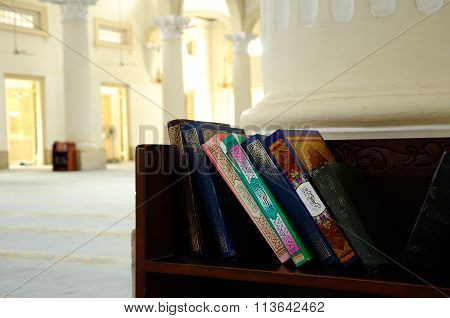 Quran on wooden rack in the Sultan Abu Bakar State Mosque in Johor Bharu, Malaysia