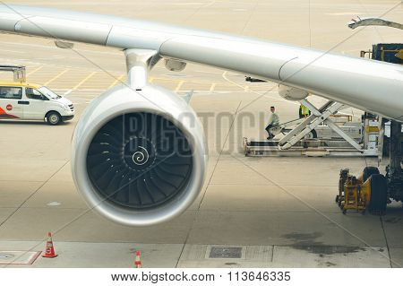 HONG KONG - NOVEMBER 03, 2015: engine of Airbus A380. The Airbus A380 is a double-deck, wide-body, four-engine jet airliner manufactured by the European aircraft company Airbus