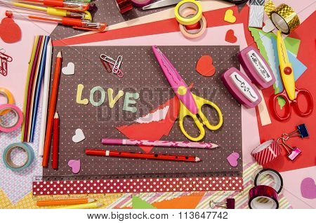 Color paper pencils different washi tapes craft scissors hearts supplies for decoration. poster