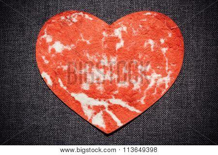 Red Heart On A Dark Wall, Valentine Background