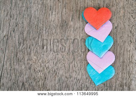 Valentines Day Background With Red Hearts Over Grunge Wooden Table
