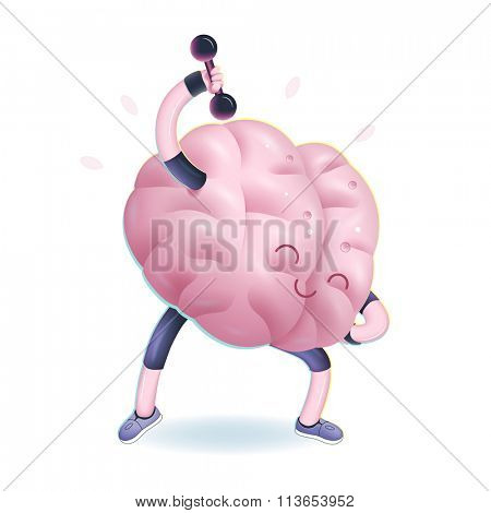 Train your brain series - the vector illustration of brains activity, dumbbells exercises. Part of a Brain collection.
