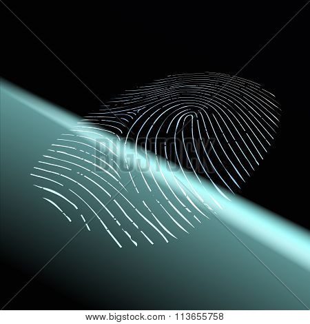 Fingerprint Scanning. Stock Illustration.