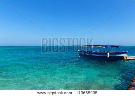 Tourist motorboat near del Rosario Islands Colombia.