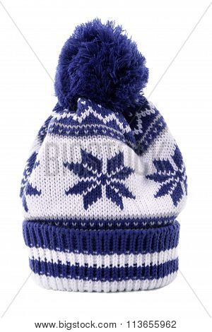 Blue Winter Bobble Hat or ski hat isolated on white background