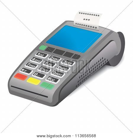 POS terminal and printed reciept on white