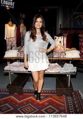 Lucy Hale launches her first collection held at the Hollister Store Westfield Century City in Los Angeles, USA on August 9, 2014.