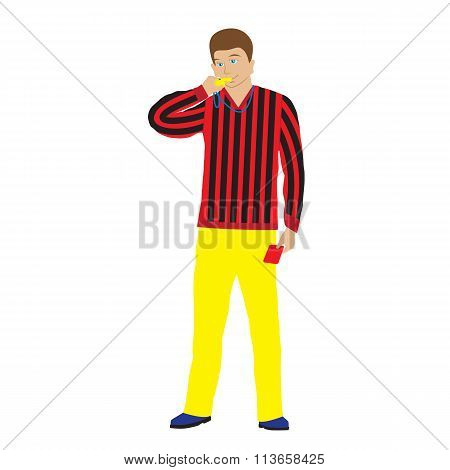 Sports Referee With Whistle.