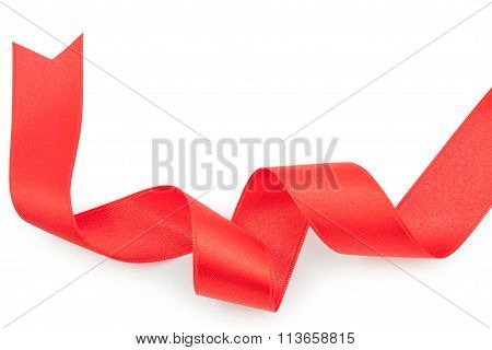 Red Ribbon Nicely Uncurled Isolated On Pure White