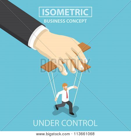 Businessman Are Under Control Like A Puppet By Big Hand