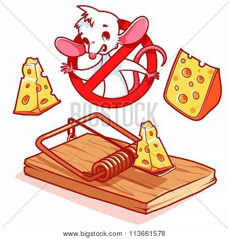 Cute white mouse inside red prohibitory sign with cheese and mousetrap