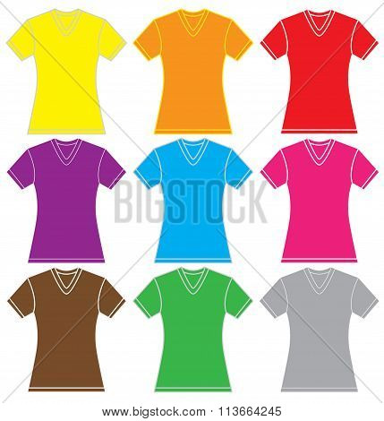 Colorful Women's V-neck Shirt Template