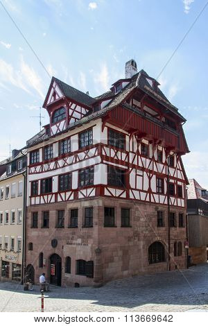 NUREMBERG, GERMANY - AUGUST 23, 2015: The Albrecht Dürer's House (Albrecht-Dürer-Haus) was the home of German Renaissance artist Albrecht Dürer the house is located close to the Nuremberg Castle and now serves as museum