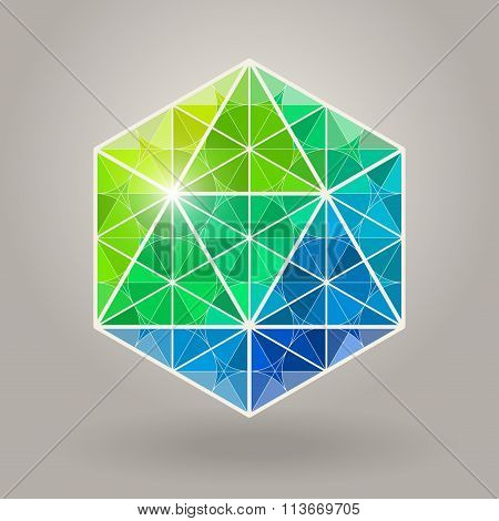 Abstract Vector Geometric Blue Green Hexagonal Sacred Geometry Shape Logo