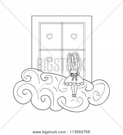 girl by window art illustration cute love