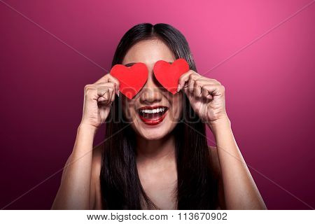 Beautiful Asian Girl Holding Red Heart Cover Her Eyes