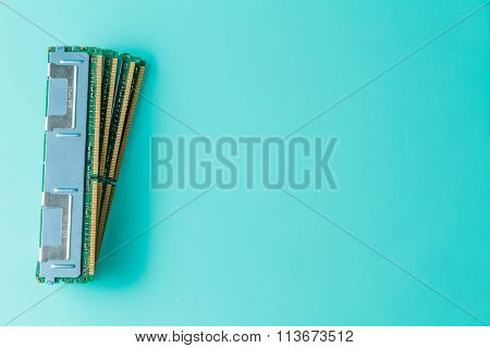 Computer memory modules on the aquamarine background poster