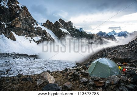 Lonely Tent Climbers In The Moutains