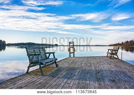 Jetty With Benches At The Lake