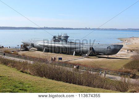 Submarine U995 in Laboe at the beach