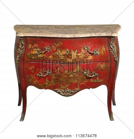 old vintage antique chest of drawers known as commode wood painted to look Japanese ormolu furniture and marble top isolated on white with clipping path poster