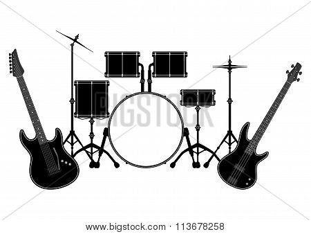 Drum Set And Electronic Guitar