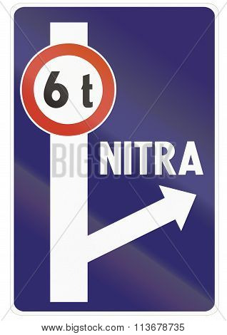 Road Sign Used In Slovakia - Weight Restriction And Detour