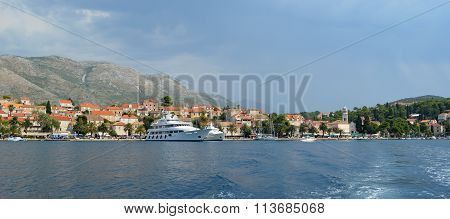 Cavtat harbor on the Croatian Coastline with luxury private yatchs