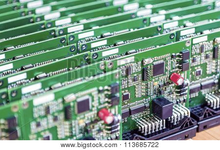 Printed Circuit Boards Placed In Lines Together  With One Another In Laboratory.