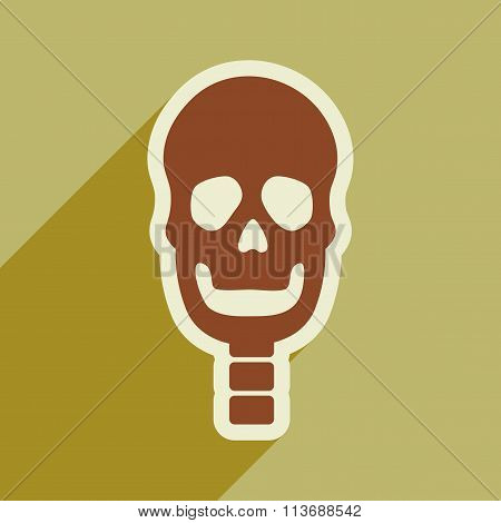 flat icon with long shadow human skull