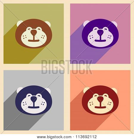 Set of flat icons with long shadow Canadian beaver